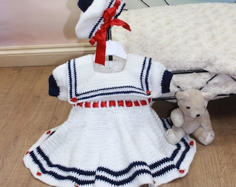 Crochet pattern For Baby Sailor Dress & Beret in 3 Sizes PDF 184 Digital Download, UK, USA, Français