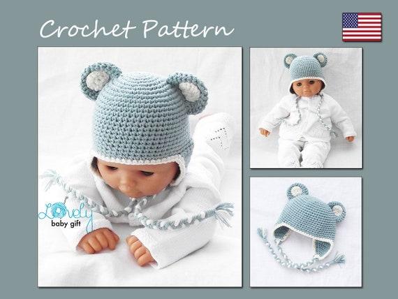 Crochet Bear Hat Pattern Teddy Bear Earflap Winter Hat Baby