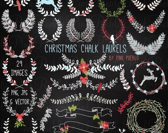 Christmas Chalkboard Laurel Clip Art Clipart, Christmas Holiday Chalk Floral Clipart Clip Art Vectors - Commercial and Personal Use
