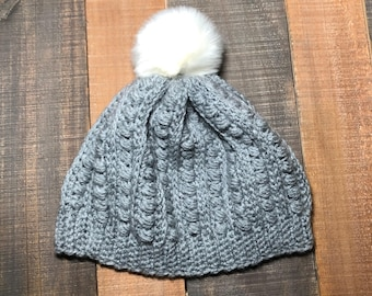 Grey Malia Faux Fur Pom Pom Beanie/Hat Ready to Ship!