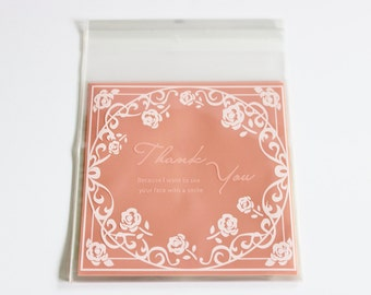 Roses Frame Thank You Cello Bags Pink and White Favors Self Adhesive 24+ Weddings / Baking / Cookies / Parties