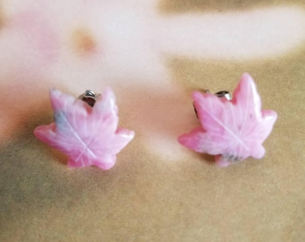 Natural carved stone leaf earrings, stone earrings, pink earrings, pink leaves, post earrings, natural stone, pink stone earrings