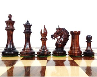"""4.2"""" Rare American Luxury Chess Pieces Weighted Chessmen Set Rose wood Extra Queens"""