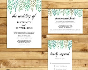 Watercolor Leaves Wedding Invitation Instant Download