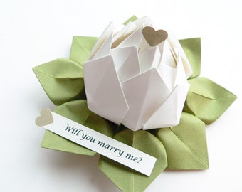 PERSONALIZED Message Origami Lotus Flower - White and Moss Green - gift box - proposal, 1st anniversary, baptism, christening, confirmation