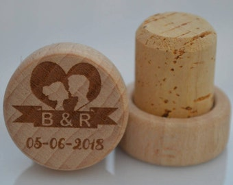 Personalized Wine Stoppers, Custom Wine Stopper, Engraved Wood Wine Stoppers,Customized Wine Cork, Wedding Party, Wedding Favor, Model 6
