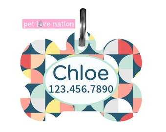 Personalized Pet Tag, Dog Tag, ID Tag, Geometric Pet Tag With Name And Phone Number