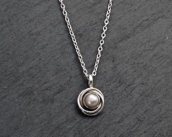 Pearl Pendant Necklace, Silver and Pearl Nest Pendant, June Birthstone Necklace, Art Deco Pendant, White Freshwater Pearl, Sterling Silver
