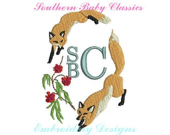 Fox Monogram Frame Fill Embroidery Design Designs File Embroidery Machine Instant Download Fall Autumn Southern Hunt Winter