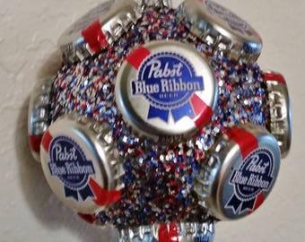 Pabst Blue Ribbon beer bottle cap ornament