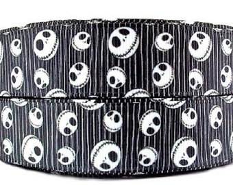 "Nightmare Before Christmas Jack Skellington All Over Print 1"" Wide Repeat Ribbon Sold in Yard Lots"