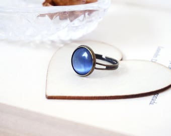 Blue Lace Agate Ring Mermaid Rings Ocean blue ring Bronze jewelry Unique rings Cat eye stone ring Brass women's ring Gemstone rings handmade