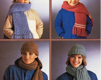 womens hat & scarf sets knitting pattern childrens hat scarf ribbed cable chunky bulky yarn 4-9+adult womens knitting patterns pdf download