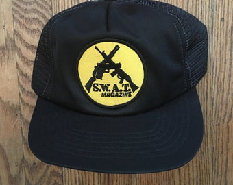 Vintage SWAT Magazine Mesh Trucker Hat Snapback Hat Baseball Cap Patch * Made In USA