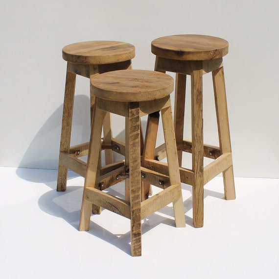 Rustic Kitchen Bar Stools: Bar Stool Rustic Reclaimed Barn Wood Raw W/Round Top