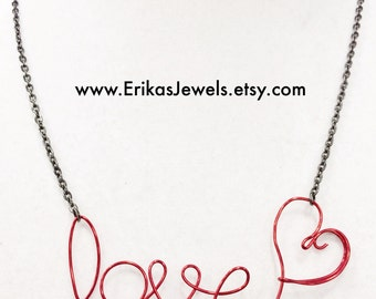Love Wire Wrapped Necklace in Red - Made to Order