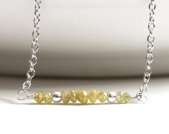 Genuine Diamond Necklace, Natural Yellow Diamond, 925 Sterling Silver, Fancy Diamond, Precious Gemstone, April Birthstone,Gift for Wife