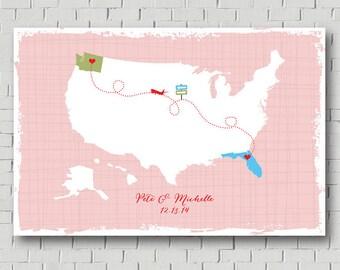 Destination Wedding Guest Book Wedding Map, Wedding Gift Bridal Shower Gift, Travel Wedding Theme Guest Book Map, Wedding Signs Love Map