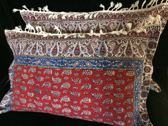 Set of two handmade red tapestry pillows ,natural dyes paisley design cotton and linen bed pillows with tassels