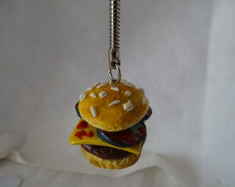 keychain hamburger, meat, pickle, cheese, ketchup
