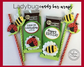 KIT Ladybugs and Bumblebee Party Favor / Hershey Bar / Hello Spring Party / Hello Summer Party / Candy Bar Wrapper / Classroom Treat