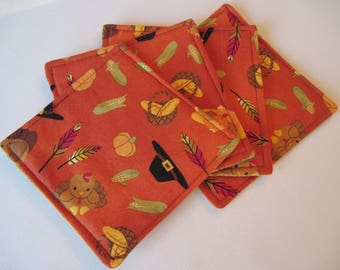 Thanksgiving Coasters 4 or 6 Mug Rugs Reversible Fall Coasters Green Coasters Fall Mug Rugs Autumn Table Decor Green Gourds Coasters