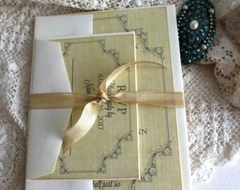 Vintage Romantic Wedding Invitation SAMPLE Handmade by avintageobsession on etsy
