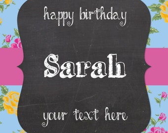 Personalised Wine Label - green/ blue floral chalkboard effect - birthdays or any occasion