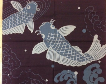Large Furoshiki, Couple of the carp, wrapping cloth, Japanese fabric, cotton fabric, tapestry, Wall Hanging, Free shipping