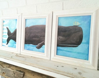 Whale Decor Framed Triptych Whale Art Beach Decor Beach Kids Room Beach Baby Nursery Whale Baby Nursery Christina Rowe Beach Art Mangoseed