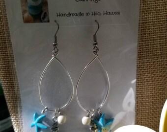 Beach Charm  Hoop Earrings