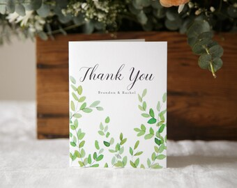Botanical Branches Thank You Notes - Wedding Thank You Cards - Nature Lover Gift - Notecard Set - Watercolor Leaves - Customized Names