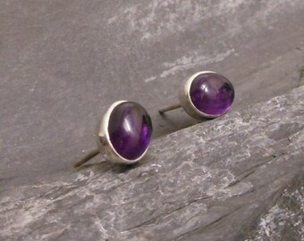Amethyst ear studs - 925 Sterling Silver amethyst earrings -