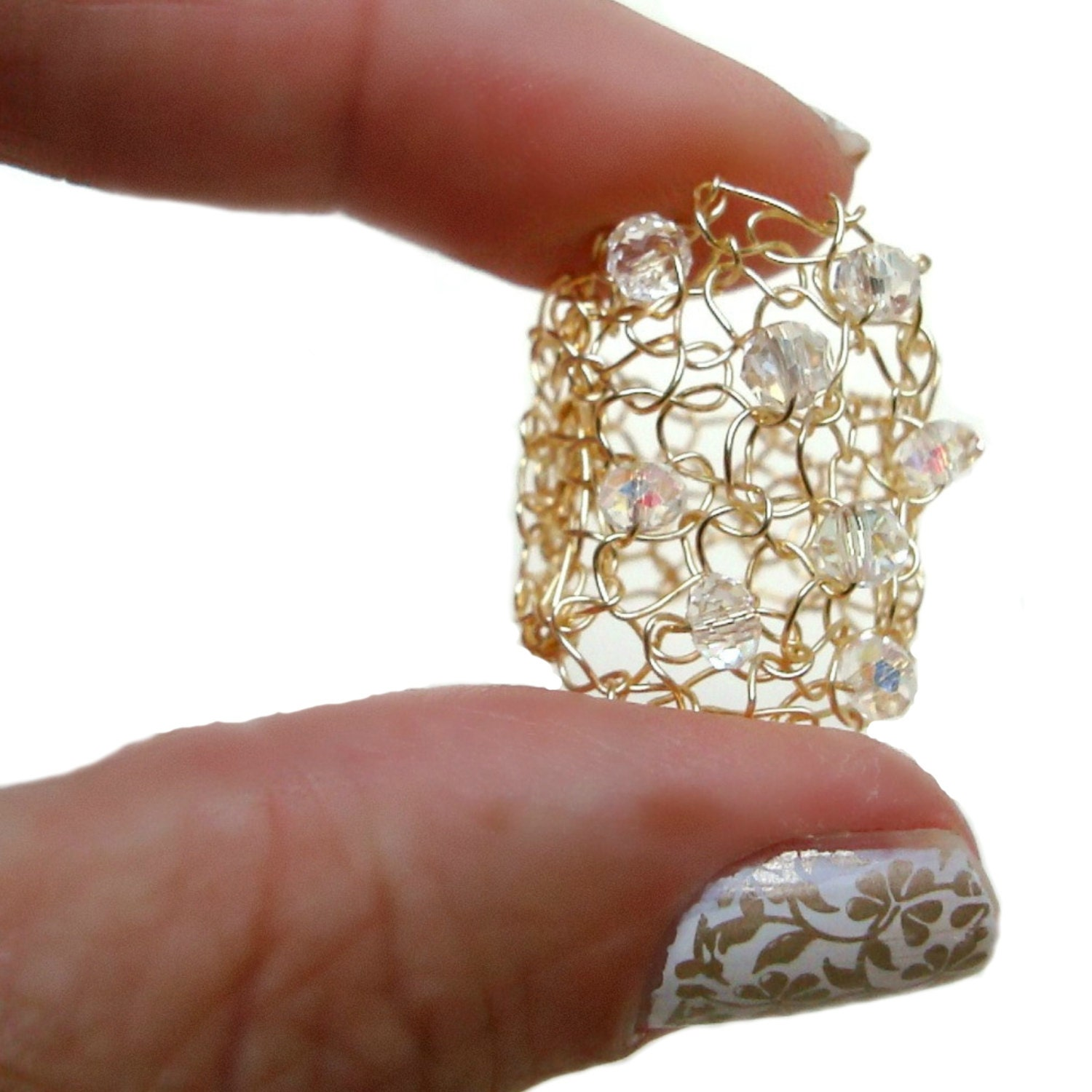 Big Gold Ring Wide Gold Band Wide Band Ring Gold Crystal Ring