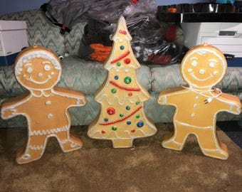 Christmas set of 3 gingerbread people and tree blow molds decorations