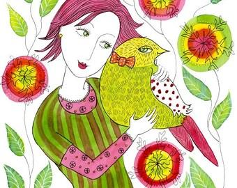 Friendship, 9 x 9ins, original watercolour painting, girl, bird flowers, whimsical wall art