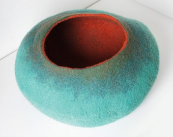 Cat Bed / Cave / House / Vessel / Nap Cocoon / House / Furniture Hand Felted Wool Rusty Mint Ombre Bubble - Crisp Contemporary Modern Design