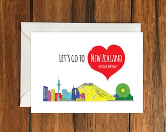 Let's Go To New Zealand for your Birthday Blank greeting card, Holiday Card, Gift Idea A6