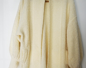 Vintage Cream Northern Isles Boucle Knit Cardigan Sweater Jumper