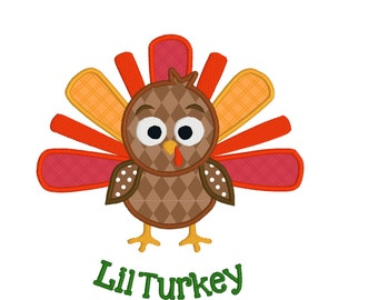 BUY2GET1FREE 4x4 and 5x7 Cute Lil Turkey Applique Machine Embroidery Design - Instant Download Thanksgiving