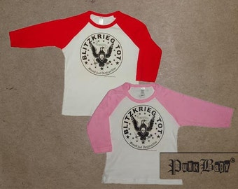 Blitzkrieg Tot hand screen printed, red/white or pink/white, kids baseball tee for toddler fans of the Ramones & punk