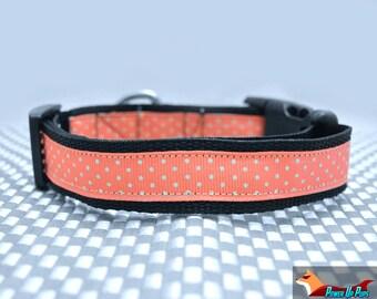 "Pink Polka Dots 1"" Wide Dog Collar"