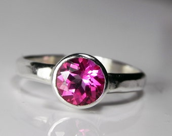 Mystic Topaz Ring Passion Pink - Pink Topaz Ring - Mystic Topaz Stack - Sterling Silver Stacking Ring - Mystic Topaz Engagement Ring