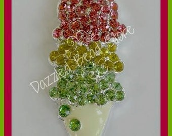 Chunky Rhinestone ICE CREAM CONE pendant - for bling chunky necklaces