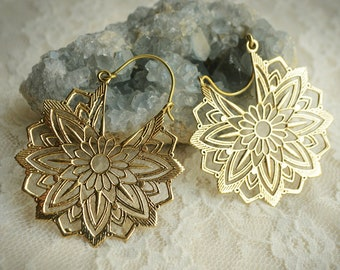 Mandala detailed brass hoops. Gipsy earrings. Tribal fusion belly dance, statement, festival, psytrance, ethnic