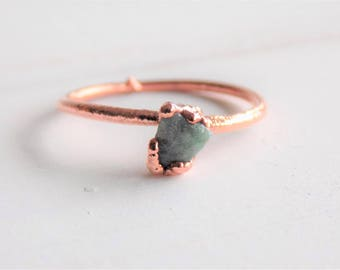 Raw emerald ring -May birthstone ring - copper stacking ring - raw emerald copper ring - emerald stacking ring -  boho ring - gifts for her