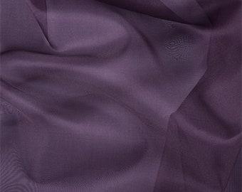 Aubergine Silk Organza, Fabric By The Yard