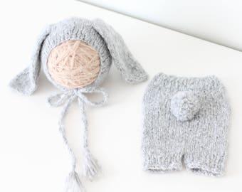 Newborn rabbit – Baby props – Newborn set – Photo props – Baby boy rabbit – Newborn hat – Newborn props – Baby boy props - Easter hat - Gray