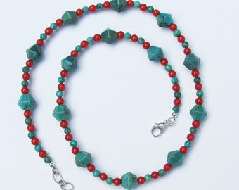 Turquoise and Coral Necklace, Turquoise Necklace, Handmade Necklace, Handmade Turquoise Necklace, Beaded Necklace
