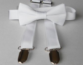 White Bowtie AND suspender set - Infant, Toddler, Boy - 2 weeks before shipping